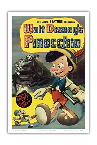 Vintage Film Posters (Walt Disney's Pinocchio - with Jiminy Cricket - Vintage Film Movie Poster c.1940 - Master Art Print - 12in x 18in)