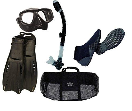 Aeris Boot - DXDiver Oceanic Pro Snorkeling Set Black Mask Dry Snorkel Adjustable/Aeris Mako Open Heel Fins Size XS/Mesh Gear Bag Package Adult Scuba with 2mm Equator Dive Boots (Equator 2mm Size 6)