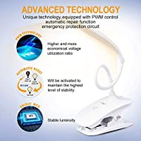 Warm LED Clip Light,Touch Lamp,Book Light for Home,Book,Bed,Computer,360/°Flexible Lamp Clip with 3 Brightness Level,20 LED 2000 MAH Battery Operated