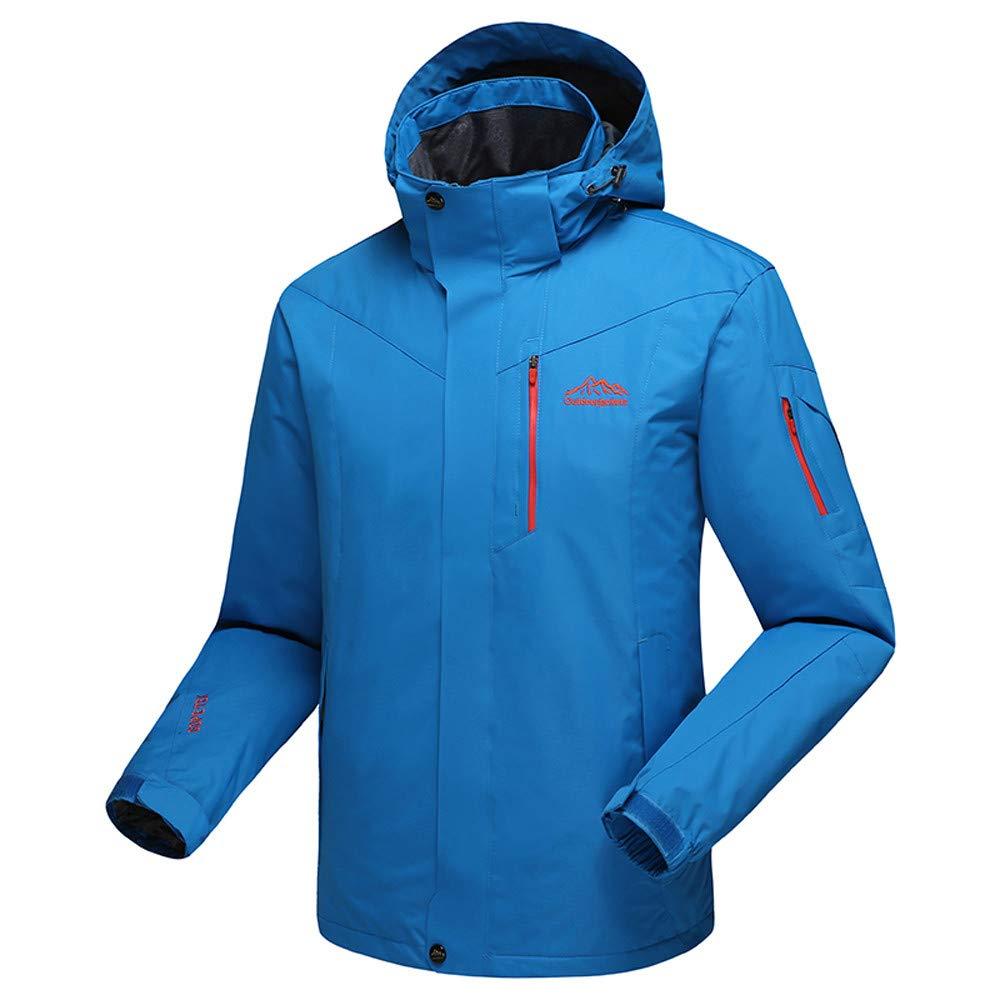 YKARITIANNA Men's Winter Outdoor Skiing Anorak, Autumn Winter Outdoor Cashmere Zipper Hoodie Sport Outdoor Assault Coat Blue