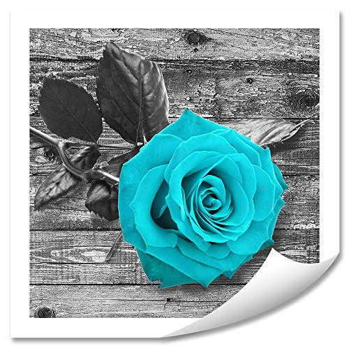 Rose Wall Art Home Decor - Blue Flowers pictures for bathroom decorations - DIY Frameless Canvas painting - Large Rose Artwork (no Framed) 20x20inches ()