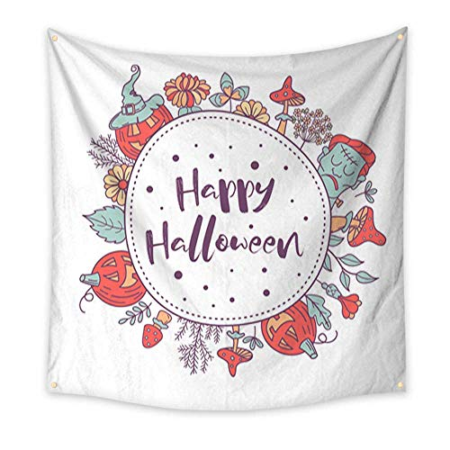 Tapestry Bedding Happy Halloween Vector Illustration Hand Drawn Greeting Card Invitation for a Halloween Party Home Decorations 70W x 70L Inch