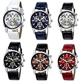 Yunanwa 6 pack Men's Leather Quartz Watch Geneva Boys Casual Dress Wrist Band Watches Wholesale Lots Set (6pcs-C005)