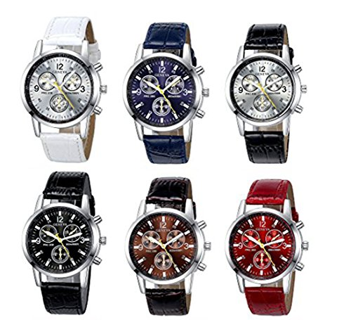 Yunanwa 6 Pack Men's Leather Quartz Watch Geneva Boys Casual Dress Wrist Band Watches Wholesale Lots Set (6pcs-C005) from yunanwa
