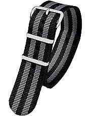 Pacific Time 10041 - Correa de Repuesto para Reloj de Pulsera, con Cierre de Hebilla, Color Negro y Gris a Rayas