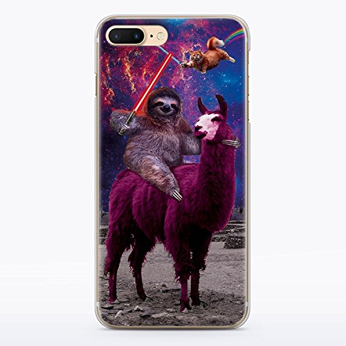 Funny Star Wars iPhone 7 and iPhone 8 Case Animal Jedi Rainbow Cat Llama Squad Sith Lightsaber Fight Clear Durable Plastic Case for iPhone 7 and iPhone 8 Sloth Vader MA1304 ()