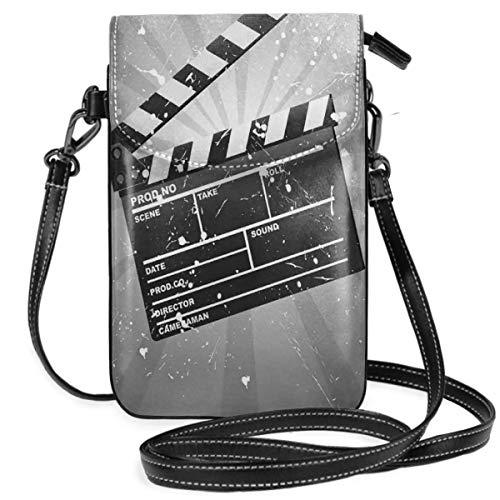 Women Small Cell Phone Purse Crossbody,Clapper Board On Retro Backdrop With Grunge Effect Director Cut Scene