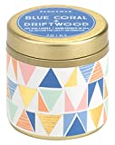 Paddywax Kaleidoscope Collection Scented Travel Tin Candle, 3-Ounce, Blue Coral & Driftwood