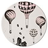 Bloomingville Ceramic Plate with Balloons, Off White With Nude/Black Design