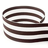 "1-1/2"" Brown & White Taffy Striped Grosgrain Ribbon - 20 Yards - USA Made - (Multiple Widths & Yardages Available)"