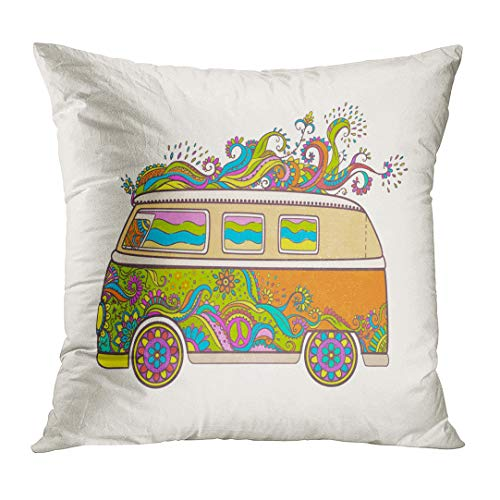 TOMKEYS Throw Pillow Cover Hippie Vintage Car Mini Van Love and Music with Hand Written Fonts Doodle and Hippy Color Retro 1960S 60S Decorative Pillow Case Home Decor Square 18x18 Inches Pillowcase (Hippy Van)