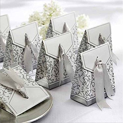 House Life 100 PCS Wedding Favor Decorative Boxes with Ribbons Gift Candy Boxes Bags Anniversary Party Silver
