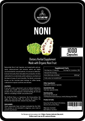 1000 Capsules Organic Noni Fruit -100 Organic Noni Fruit Powder, 1000mg Per Serving Veg Capsules Supports Immunity System