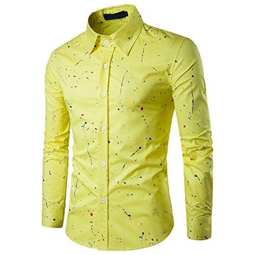 SALLYDREAM Camiseta de Los Hombres Talla Extra Verano Bohe Floral Manga Corta Lino (M) 3kdjY