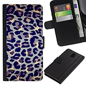 KingStore / Leather Etui en cuir / Samsung Galaxy Note 3 III / Spots fourrure bleue animale