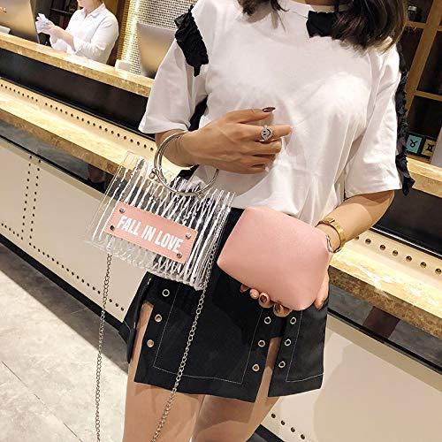 de Bolso Rayado Ocasional de la Compuesto de del Pink de de la PVC Metal manija de Mensajero Bolso Hombro lzndeal Redondo Bolso Cuero del PU Mujeres Las S4P11w