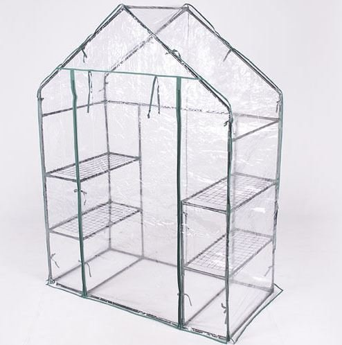 Produit Royal 3 Tier Walk In Transparent Greenhouse Plant Flowers Grow Stand Growing Rack Outdoor 4 Shelves Portable Planter Holder Green House - Vs Glass Tempered Polycarbonate