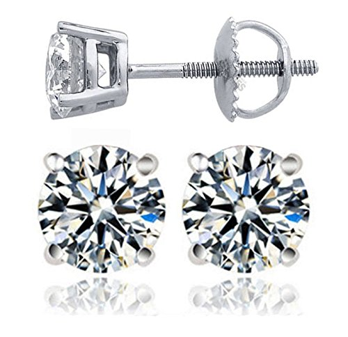 Venetia Realistic Top Grade Hearts & Arrows Cut Simulated Diamond Solitaire Earrings Earstuds Screw Back 925 Silver 8mm 2 4 Carat cz cubic zirconia E8mrd (Earrings Gold Ribbon White)