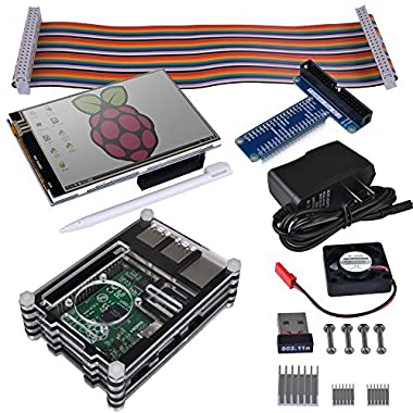 Kuman RPI Starter Kit for Raspberry Pi 3 2 Model B B+(8-Items) with WiFi 150Mbps 11n USB Adapter+3.5  touch screen+ 9 Layer Cases Box+5V 2A Power Supply+GPIO Board SC04