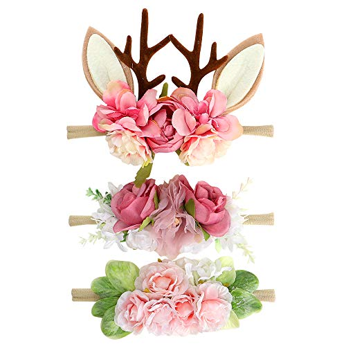 Floral Baby Girls Headband- BEAMIO Antlers Nylon Hairbands Pack of 3