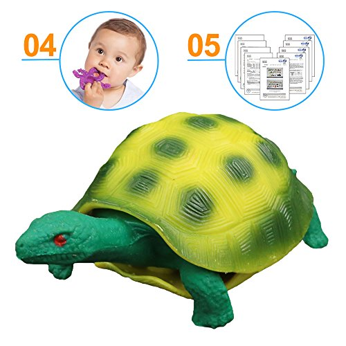 Turtle Toys,Sea Ocean Animal 5 Inch Rubber Tortoise Turtle Sets(8 Pack),Great Safety Material TPR Super Stretchy,Can Hide In Shell ValeforToy Bathtub Bath Pool Toy Party Favors Boys Kids by ValeforToy (Image #4)
