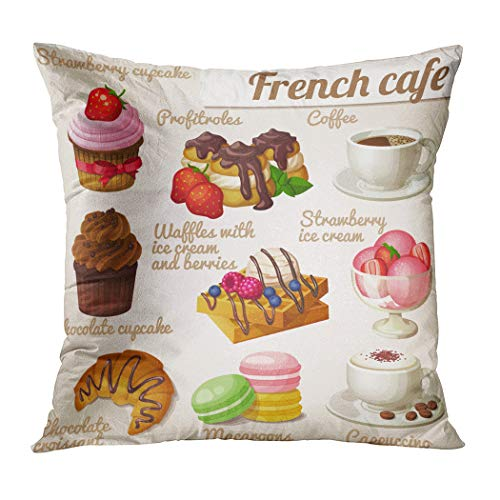 - Suklly Throw Pillow Cover Square 20x20 Inch Set Food Icons French Cafe Chocolate Cushion Home Sofa Decor Hidden Zipper Polyester Pillowcase