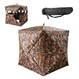 VINGLI 65''H Hunting Blind, 2-Person Pop Up Ground Blind with Backpack & Mesh Windows, Portable Hub Tent for Outdoor Shooting, Waterproof