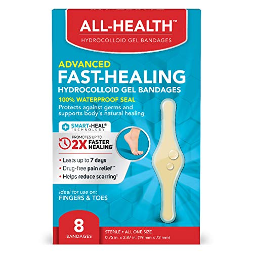 All-Health Advanced Fast Healing Hydrocolloid Gel Bandages, Fingers & Toes, 6 ct   2X Faster Healing for First Aid Blisters or Wound Care