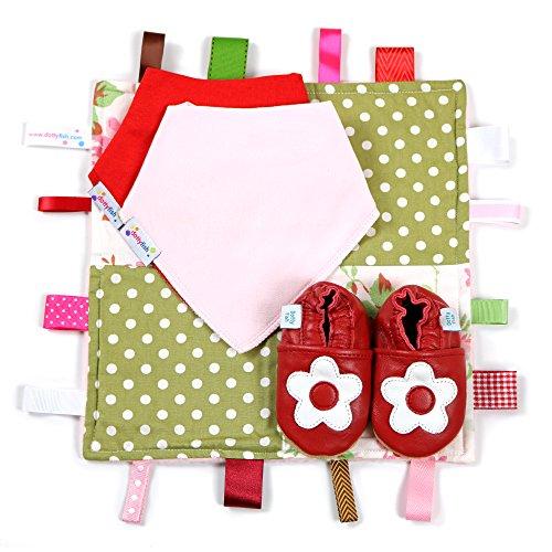 Dotty Fish Leder Babyschuhe Geschenkbox - Baby Jungen und Mädchen - 0-6 Monate, 6-12 Monate, 12-18 Monate, 18-24 Monate Rote und weiße Blume