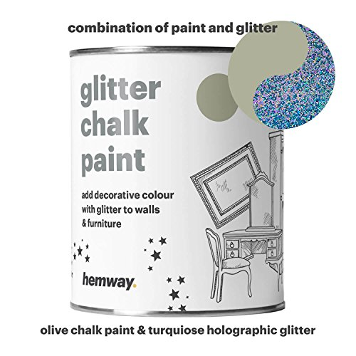 Hemway Olive Chalk Paint (with Turquoise Holographic Glitter) Sparkle Matt finish Wall and Furniture Paint 1L / 35oz Shabby Chic Vintage Chalky Crystal (25 Glittery Colours - 187 Matt