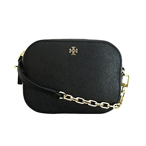 Tory Burch Robinson Round Cross-Body Black Saffiano Leather Gold-Tone Hardware Bag by Tory Burch