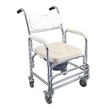 HSRG 4 en 1 Transporte Cómoda de la cabecera con Ruedas y Plegable Reposapiés, Ducha Impermeable para sillas de Ruedas WC para la Tercera Edad: Amazon.es: ...