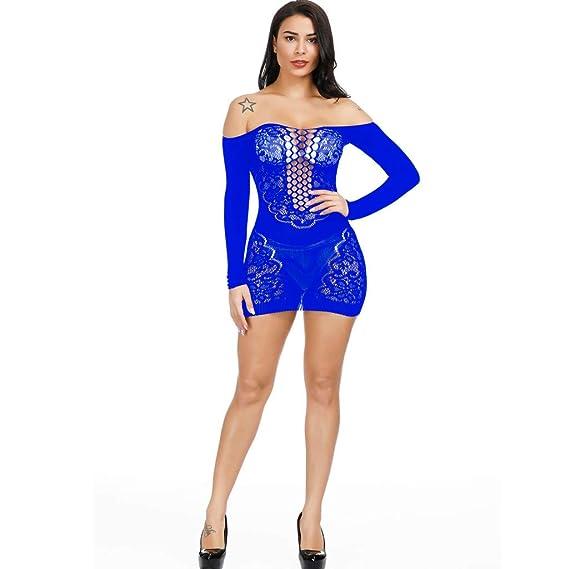 ae95754591de Tongshi Sexy De Las Mujeres Ahueca hacia Fuera El Vestido Transparente De  La Ropa Interior De La Malla LenceríA Atractiva ...
