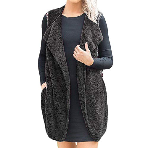 Vest Silk Print (Womens Waistcoat Duseedik Ladies Sleeveless Print Patchwork Outerwear Parka Winter Loose Vest Coat)
