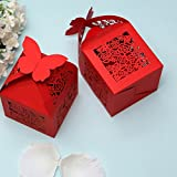 PONATIA 50 PCS Butterfly Favor Candy Box / Gift Boxes Wedding Party Baby Shower Favor (Red)