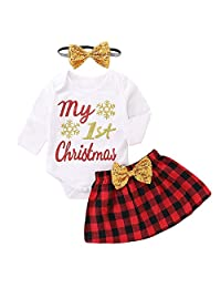 OCEAN-STORE Newborn Baby Girls Christmas Romper+Skirt+Headbands Clothes