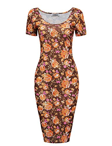 Tom's Ware Women's Sweetheart Short Sleeve Midi Dress TWCWD053-BROWNORANGE-US L