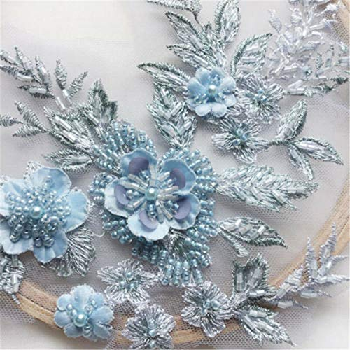 3D Flower Lace Embroidery Bridal Applique Beaded Pearl Tulle DIY Wedding Dress (Color - Light Blue) ()
