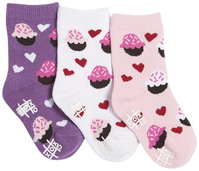 Tic Tac Toe Baby Girls' Mini Cupcakes Graphic Socks