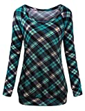 Cestyle Plaid Sweatshirt for Women,Juniors O Neck Long Sleeve Tartan Sweatshirts Seniors Loose Fit Casual Banded Hem Tunic for Jeans Women Fall Clothes Daily Wear Green X-Large