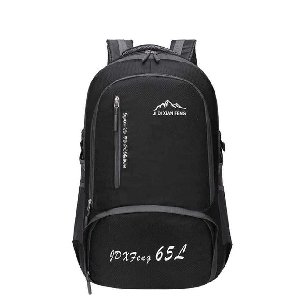 65lアウトドア防水大容量オス登山パッケージメス旅行バッグショルダーバッグスポーツバックパック学生バッグ  ブラック B06Y66Y725