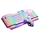 TTQ Gaming Keyboard Mechanical Touch Feeling with Rainbow Backlit& Gaming Mouse Max 3200 DPI with Blue Breathing Lamp& Mouse Pad,Mouse Keyboard Set(Pink)