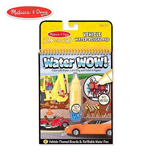 Melissa & Doug On the Go Water Wow! Vehicles Reusable Water-Reveal Activity Pad, Chunky-Size Water Pen -