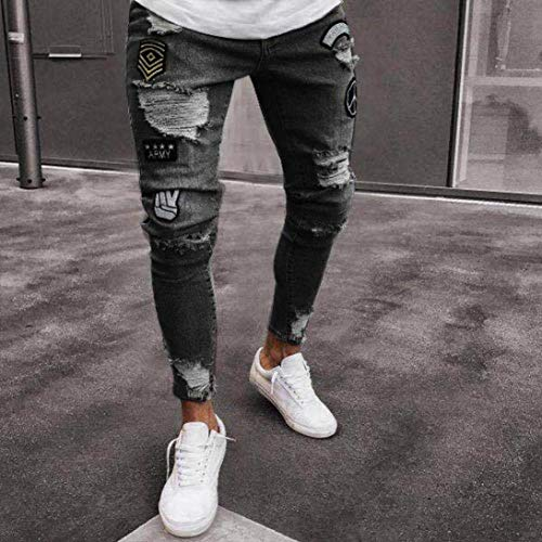 Dunkelgrau Slim Skinny Con Fit Pantaloni Uomo Strappati Neri Jeans Stretch Estivi Fori q6fRwR