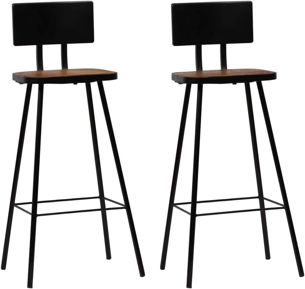 tidyard Jeu de Bar 3 Pcs en Bois de R/écup/ération Massif Style Industriel 1 Table+2 chaises