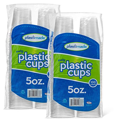 [200 Count] PlastiMade 5 Oz Clear Plastic Disposable Reusable Drinking Cups For Home, Office, Wedding, Events, Parties, Take Out, Water, Juice, Soda, Beer Cocktails (2 Packs) (Nesting Drinking Cups)