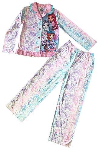 Ever After High Big Girls' Long Sleeve Button Up Coat Pants Pajama Set (8 Medium)