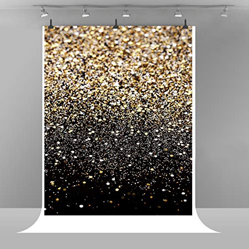 Black and Gold Photography Background Valentine's Day Backdrop Polyester Backdrop Wedding Birthday Makeup Party Backdrop Kids Children Art Studio Backdrop Props 3X5ft E00T9517(Can not Glitter) -