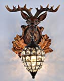 country kitchen table lamps EFFORTINC Deer heads Antlers vintage style resin wall lamp 1 Light, Rural countryside antler wall lamp,Living room,Bar,Cafe