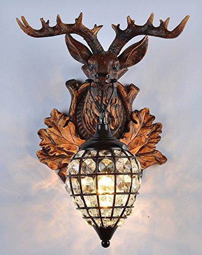 (EFFORTINC Deer heads Antlers vintage style resin wall lamp 1 Light, Rural countryside antler wall lamp,Living room,Bar,Cafe)